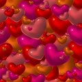 seamless pattern with red glass hearts Royalty Free Stock Photo