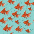 Seamless pattern with red goldfish on blue background with bubbles