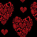 Seamless pattern with red heart embroidery stitches imitation in