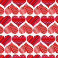 Seamless pattern with red hearts. Different red hearts on a white background.