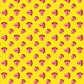 Seamless pattern with red hot chili pepper on the tongue. The girl shows tongue. Pop art style red lips on a yellow polka dot