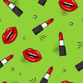 Seamless pattern with red lipstick and lips, stars. Pop art style. Vector illustration