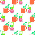 Seamless Pattern with Red Mug, Glass and Apples. Royalty Free Stock Photo
