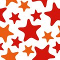 Seamless pattern with red and orange stars. Abstract repeat background, colorful cartoon illustration