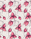 Seamless pattern red orchid flowers Stock Photos