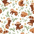 Seamless pattern with red pandas and bamboo on a white background. Vector graphics Royalty Free Stock Photo