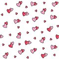 Seamless pattern with red-pink hearts.