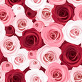 Seamless pattern with red and pink roses rose buds Royalty Free Stock Photography