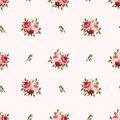 Seamless pattern with red and pink roses. Vector illustration. Royalty Free Stock Photo