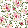 Seamless pattern with red, pink and white roses. Vector illustration. Royalty Free Stock Photo