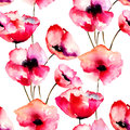 Seamless pattern with red poppy flowers watercolor illustration Royalty Free Stock Photo