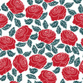 Seamless pattern of red rose flower vector illustration background Royalty Free Stock Photos