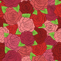 Seamless pattern red roses with green leaves beautiful hand drawn contour lines and strokes perfect for background greeting cards Stock Image