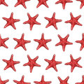 Seamless pattern with red starfish. Image for wrapping paper