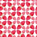 Seamless pattern with red strawberry . Cute background in watercolor. Sweet berry packaging design or wrapping paper. Homemade dec