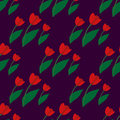 Seamless pattern with red tulips 2