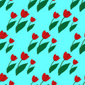Seamless pattern with red tulips 3