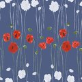 Seamless pattern of red and white flowers of poppies on a deep blue background. Watercolor - 2 Royalty Free Stock Photo