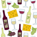 A seamless pattern of red and white wine with grapes and cheese Stock Photos