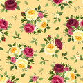 Seamless pattern with red and yellow roses vintage english rose buds leaves Royalty Free Stock Photography