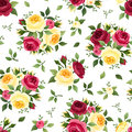Seamless pattern with red and yellow roses on white. Vector illustration. Royalty Free Stock Photo