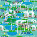 Seamless pattern renewable ecology energy, green city power alternative resources concept, environment save new Royalty Free Stock Photo