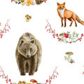 Seamless pattern repeated tile of watercolor animals