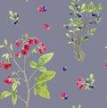 Seamless pattern repeated tile of watercolor berries