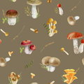 Seamless pattern repeated tile of watercolor mushrooms