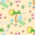 Seamless pattern with summer elements on sand background - vector illustration, eps
