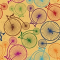Seamless pattern of retro bicycles colorful on a vintage background Royalty Free Stock Image
