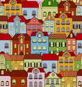 Seamless pattern with retro buildings and houses for background or wallpaper design Stock Photo