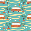Seamless pattern of retro bus surfboard in beach with palms vector illustration Royalty Free Stock Photography