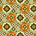 Seamless pattern retro ceramic tile design with floral ornate. Royalty Free Stock Photo