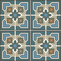 Seamless pattern retro ceramic tile design with floral ornate Royalty Free Stock Photo