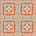 Seamless pattern retro ceramic tile design with floral ornate. Endless texture. Royalty Free Stock Photo