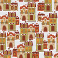 Seamless pattern with retro houses colorful winter Royalty Free Stock Image