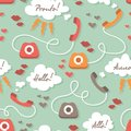 Seamless pattern with retro phones cute colored in vector Stock Photos