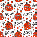 Seamless pattern with retro pots. Vector background for kitchen red circle ornament Royalty Free Stock Photo