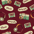 Seamless pattern in retro style. Camera, audio Royalty Free Stock Photo