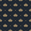 Seamless pattern in retro style with a gold crown on a blue background. Can be used for wallpaper, pattern fills, web page backgro Royalty Free Stock Photo