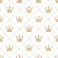 Seamless pattern in retro style with a gold crown on a white background. Can be used for wallpaper, pattern fills, web