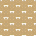 Seamless pattern in retro style with a white crown on a gold background. Can be used for wallpaper, pattern fills, web