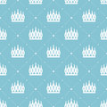 Seamless pattern in retro style with a white crown on a turquoise background. Can be used for wallpaper, pattern fills, web page b Royalty Free Stock Photo