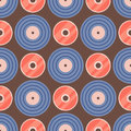Seamless pattern retro vinyl musical record audio backgroun disco track grungy vector music illustration Royalty Free Stock Photo