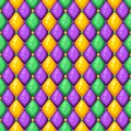 Seamless pattern with rhombus in Mardi Gras colors. Royalty Free Stock Photo