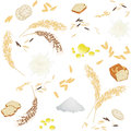 Seamless pattern with rice foodstuff
