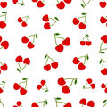 Seamless pattern with Ripe red cherry berries Royalty Free Stock Photo