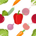 Seamless pattern of ripe vegetables from the garden. Red pepper,