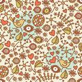 Seamless pattern with romantic birds in crown and flora vector doodle illustration Royalty Free Stock Images